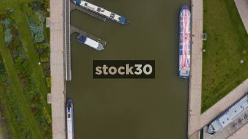 Overhead Drone Shot Of Boats On The River Avon In Stratford, UK
