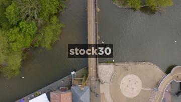 Overhead Drone Shot Of Foot Bridge Over The River Avon In Stratford, UK