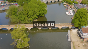 Sideways Moving Drone Shot Of Foot Bridge Over The River Avon In Stratford, UK