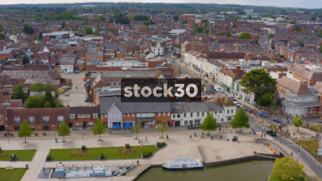 Drone Shot Of Stratford Upon Avon Town Centre, UK