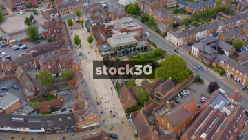 High Rotating Drone Shot Of William Shakespeare's Birthplace In Stratford, UK