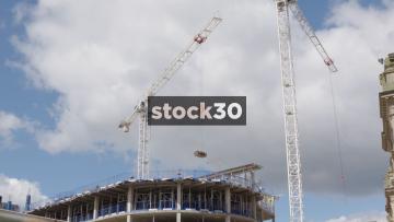 Construction Site With Cranes In Birmingham, UK
