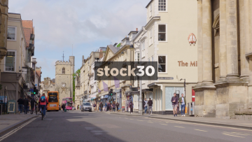 High Street In Oxford With Carfax Tower In Background, UK