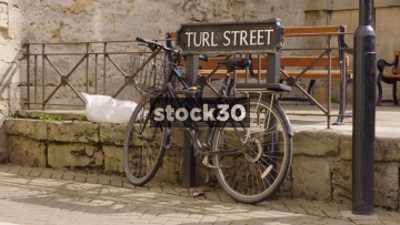 Bicycle Locked Up On Turl Street In Oxford, UK