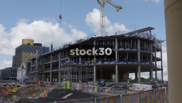 Construction Site In Birmingham. Wide And Close Shots. UK.