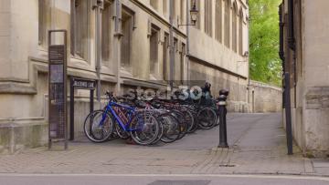 Bicycles In Rack On Brasenose Lane In Oxford, UK