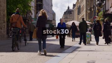 Slow Motion Shot Of People On Cornmarket Street In Oxford, UK
