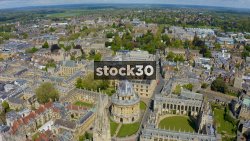 Drone Shot Flying Backwards Over Historic Oxford University Buildings, UK