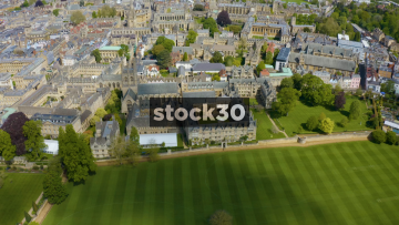 Drone Shot Rotating Around Christ Church College Buildings, Oxford, UK