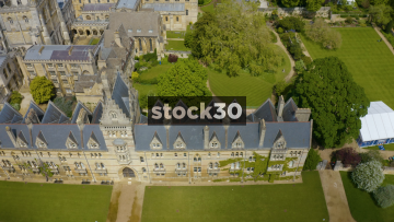 Aerial Drone Shot View Of Christ Church College In Oxford, UK