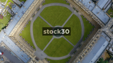 Rotating Overhead Drone Shot Of Christ Church College Courtyard In Oxford, UK