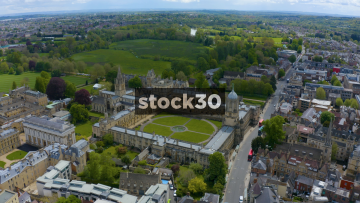 Drone Shot Flying Over Christ Church College, Oxford, UK
