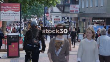 Pedestrians On New Street In Birmingham, UK