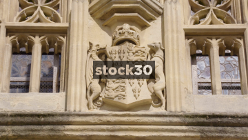 Coat Of Arms On Bath Abbey, Close Up And Wide, Bath, UK