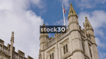 Flag Of St George Flying On Top Of Bath Abbey, Bath, UK