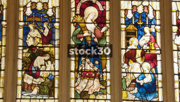 Stained Glass Window In Bath Abbey, Slow Zoom Out, Bath, UK