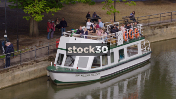 Close Up Shot Of Sir William Pulteney Cruise Boat On The River Avon In Bath, UK