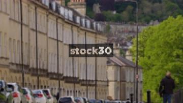 Houses On Henrietta Street In Bath, Slow Zoom Out, UK