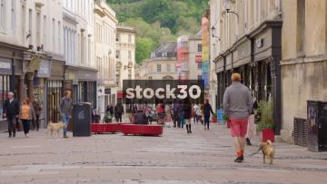 Pedestrians On Union Street In Bath, UK