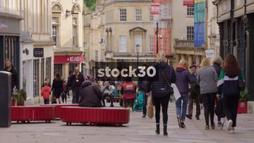 Slow Motion Shot Of Pedestrians On Union Street In Bath, UK