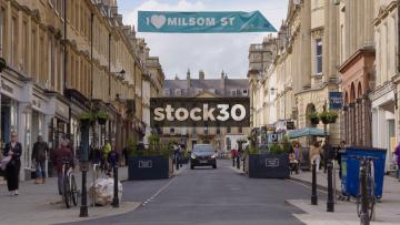Milsom Street In Bath, Slow Zoom Out, UK
