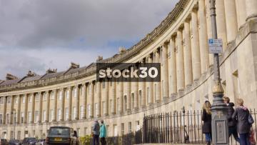 The Royal Crescent In Bath, Panning Shot, UK
