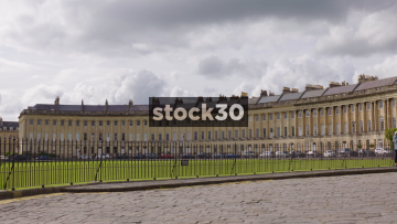 The Royal Crescent In Bath, Wide Panning Shot, UK