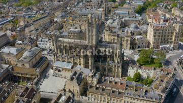 Drone Shot Rotating Anticlockwise Around Bath Abbey, UK