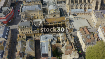 Drone Shot Rotating Anticlockwise Around Roman Baths In Bath, UK