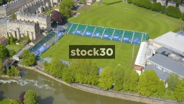 Drone Shot Rotating Anticlockwise Around Bath Rugby Club Ground, UK