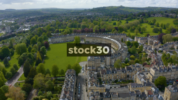 Drone Shot Flying Over The Royal Crescent In Bath, UK