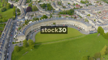 Rotating Drone Shot Of The Royal Crescent In Bath, UK