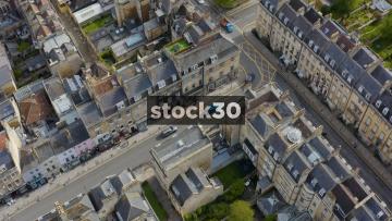 Overhead Drone Shot Of Traffic On Roads In Bath, UK