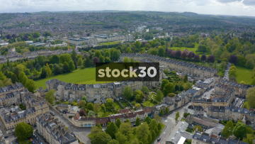 Drone Shot Flying Overhead The Royal Crescent In Bath, UK