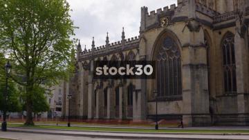Panning Shot Of Bristol Cathedral, UK
