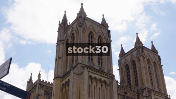Bristol Cathedral, Pan Down And Close Up On Entrance, UK
