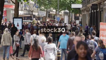 Slow Motion Shot Of Pedestrians On New Street In Birmingham, UK