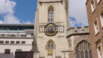 Slow Zoom In To Clock Face On Church Of St John The Baptist, Broad Street, Bristol, UK