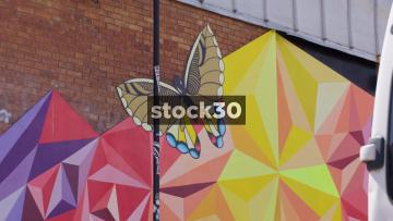 Butterfly Street Art On Hillgrove Street In Bristol, UK