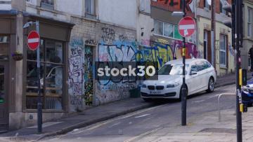 Graffiti On Stokes Croft Wall In Bristol, UK