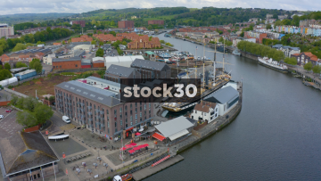 Drone Shot Of Brunel's SS Great Britain Ship In Bristol Harbour, UK