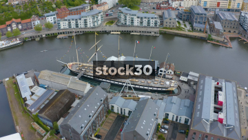 Orbiting Clockwise Drone Shot Of Brunel's SS Great Britain Ship In Bristol Harbour, UK