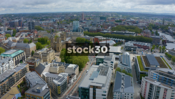 Drone Shot Of Bristol City Centre Including Cathedral, UK