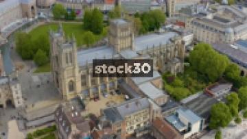 Clockwise Orbiting Drone Shot Of Bristol Cathedral, UK