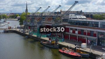 Drone Shot Of Cranes At Bristol Harbour, UK
