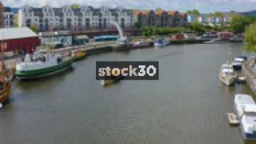 Drone Shot Of Passenger Ferry In Bristol Harbour, UK