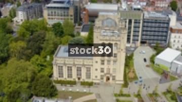 Orbiting Clockwise Drone Shot Of The University Of Bristol Physics Building, UK