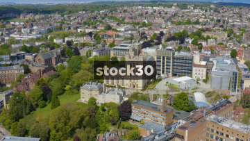Drone Shot Flying Over The University Of Bristol Physics Building, UK