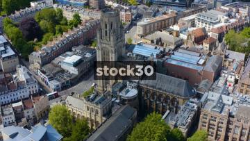 Drone Shot Orbiting Clockwise Around The Wills Memorial Building At Bristol University, UK