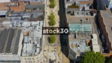 Overhead Drone Shot Of Broadmead Shopping Area In Bristol, UK